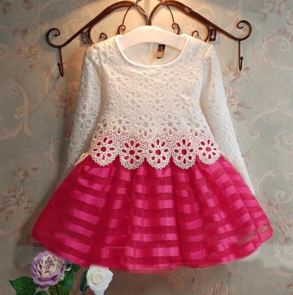 Sannysis® Niñas largo Princesa vestido de manga - Hollow flores vestido de niña: Amazon.es: Deportes y aire libre