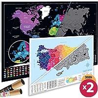 Eyaletli Yeni Scratch Map v2020 Kazınabilir Dünya + Türkiye 2 Adet Harita Seti Büyük Boy Hediyelik Kutulu
