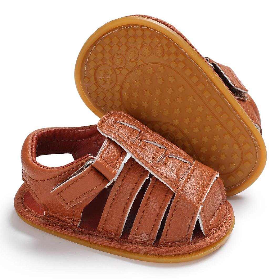 Moonker Baby Walking Sandals Infant Boys Girls Closed-Toe Soft Soled Non-Slip Prewalker Toddler Shoes Sandal 0-18M