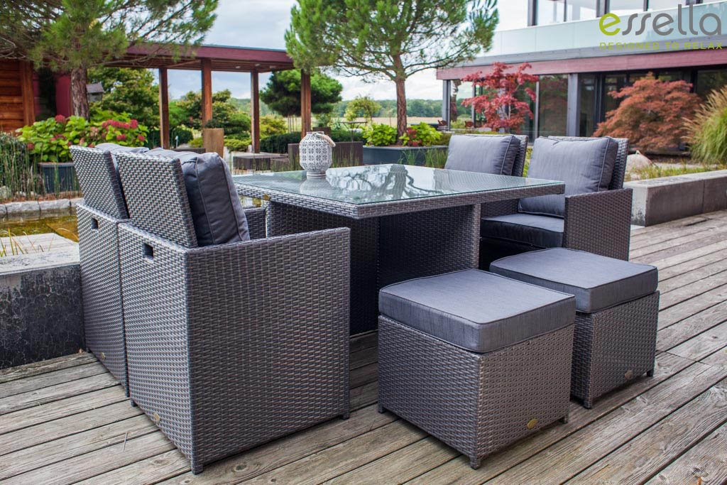 essella polyrattan essgruppe vienna 4er in grau flachgeflecht g nstig online kaufen. Black Bedroom Furniture Sets. Home Design Ideas