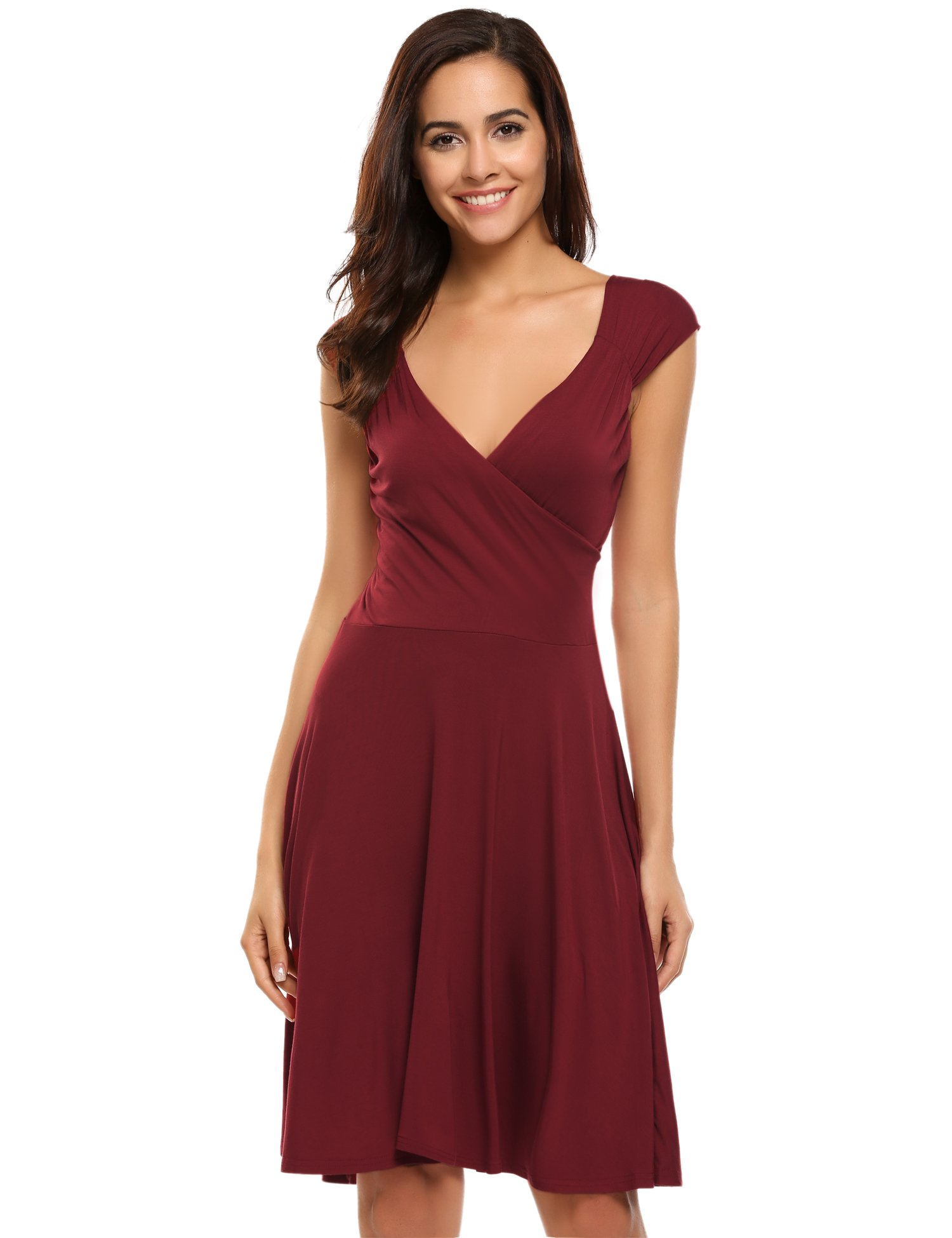 Hotouch Sleeveless Gorgeous Casual Loose Tunic Dress (Wine Red S)