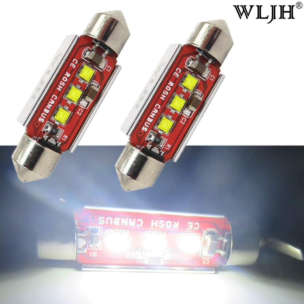 WLJH 2-Pack White 41mm 211-2 212-2 Festoon LED Bulb 42mm 6413 Canbus Error 3-Cree Chips 3535 SMD Replacement for Dome Map Reading License Plate Lights, No Polarity
