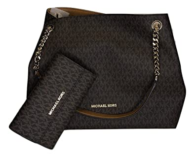 b2ad85fae63 Amazon.com  MICHAEL Michael Kors Jet Set Item Large Chain Shoulder Tote  bundled with Michael Kors Jet Set Travel Trifold Wallet (Signature MK  Brown Acorn)  ...