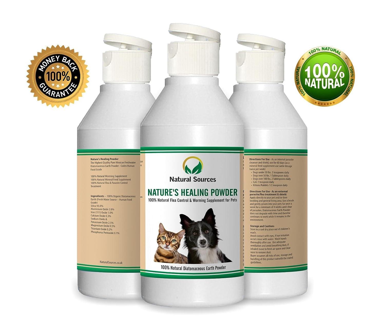 Polvo natural de curación de Natural Sources™, tratamiento de pulgas 100% natural para perros, gatos, ropa de cama y casa, es seguro para su uso en entornos ...