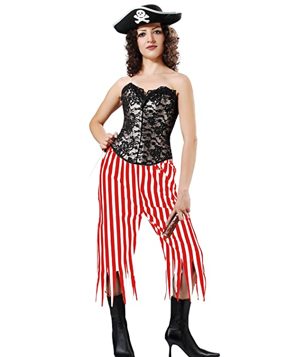 Women's Medieval Renaissance Gothic Red & White Striped Zig Zag Design Lady Pirate Pants by ThePirateDressing - DeluxeAdultCostumes.com