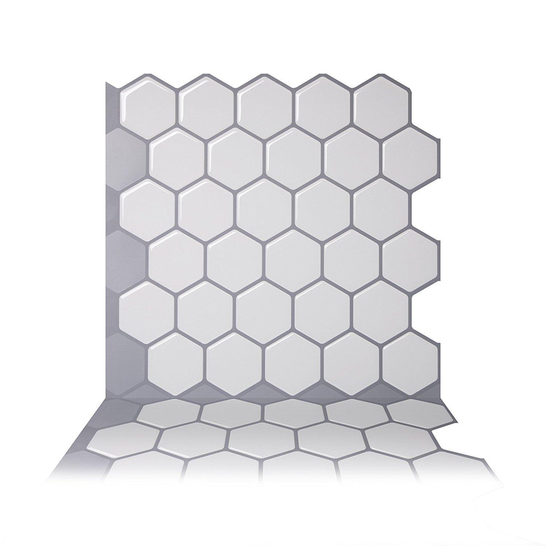 Tic Tac Tiles Anti-mold Peel and Stick Wall Tile in Hexa Mono White (1)