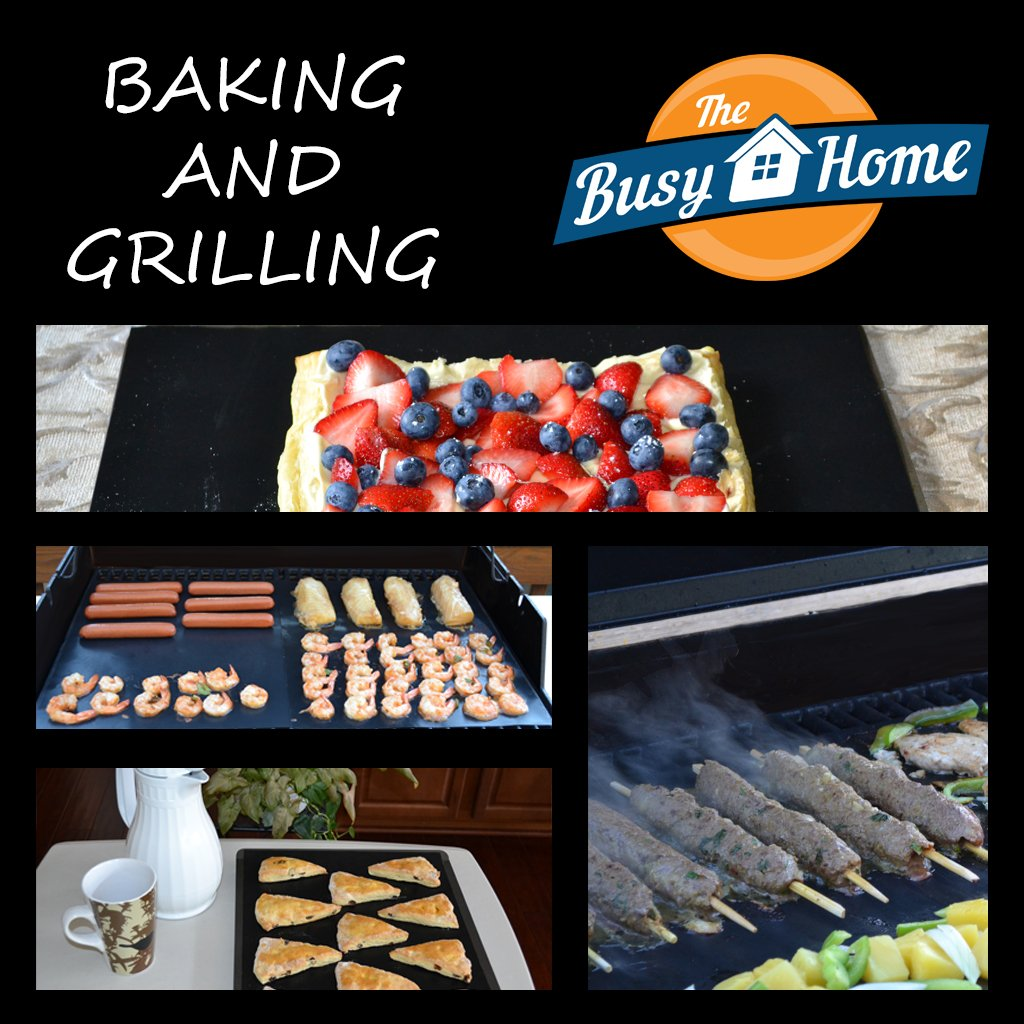The Busy Home BBQ Grill Mat and Bake Mat with 2 Recipe eBooks - 13 by 15.75 inch in Black- Set of 2 Mats