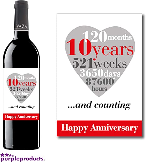 Anniversario Di Matrimonio 66 Anni.Purpleproducts Etichetta Per Vino Per Decimo Anniversario Di