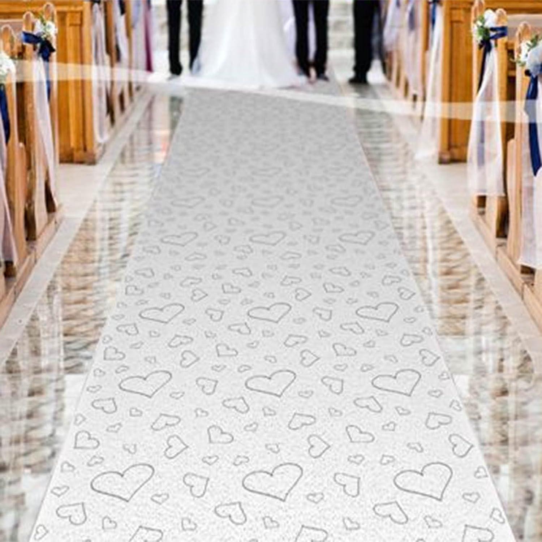 4.5m White Wedding Silver Hearts Party Church Aisle Floor Runner Decoration Folat