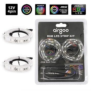 Airgoo Computer Magnetic LED Strip - Super Bright 2pcs Magnetic RGB LED  Strip Light for ASUS Aura RGB/MSI Mystic Light/ASROCK Aura RGB Motherboard