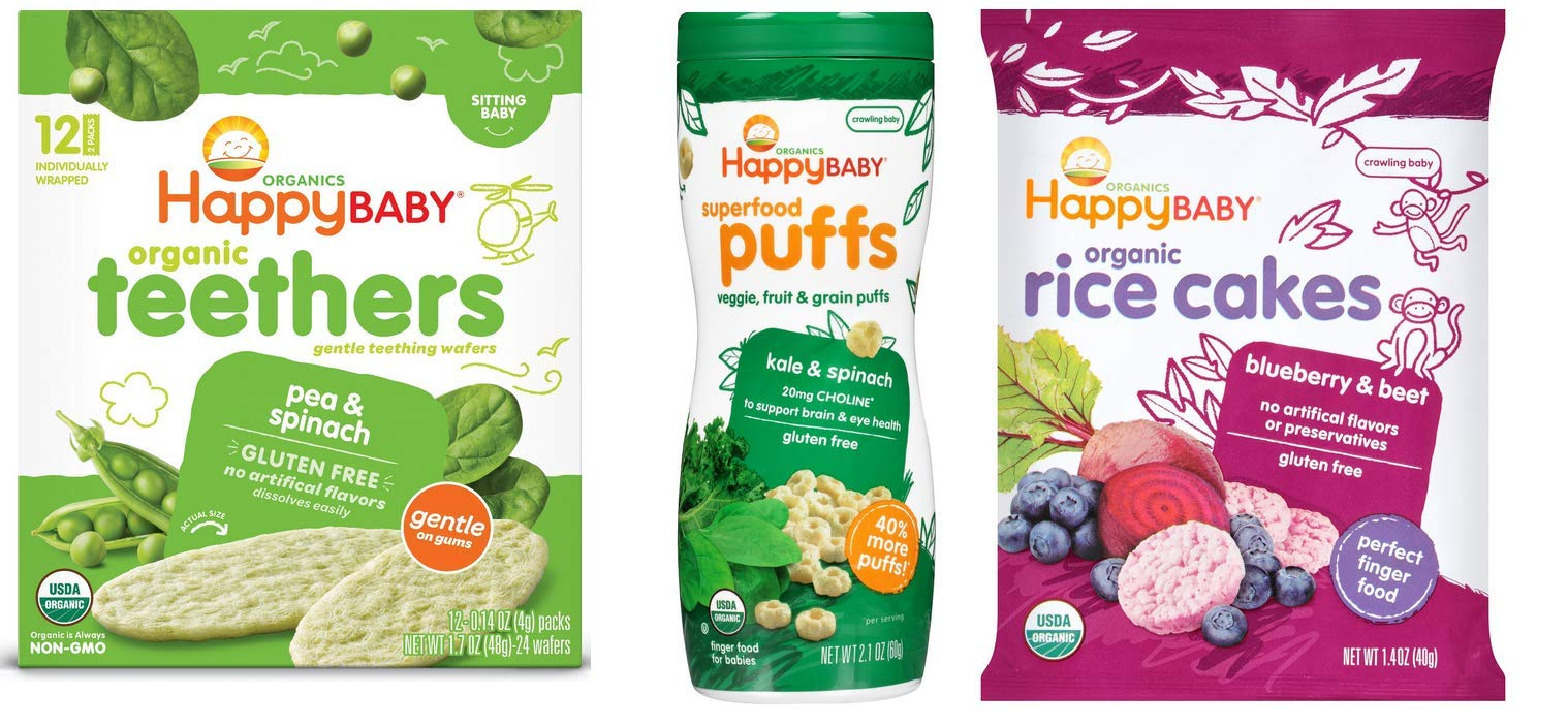 Happybaby Organic Teether Wafers, Superfood Puffs & Organic Rice Cakes
