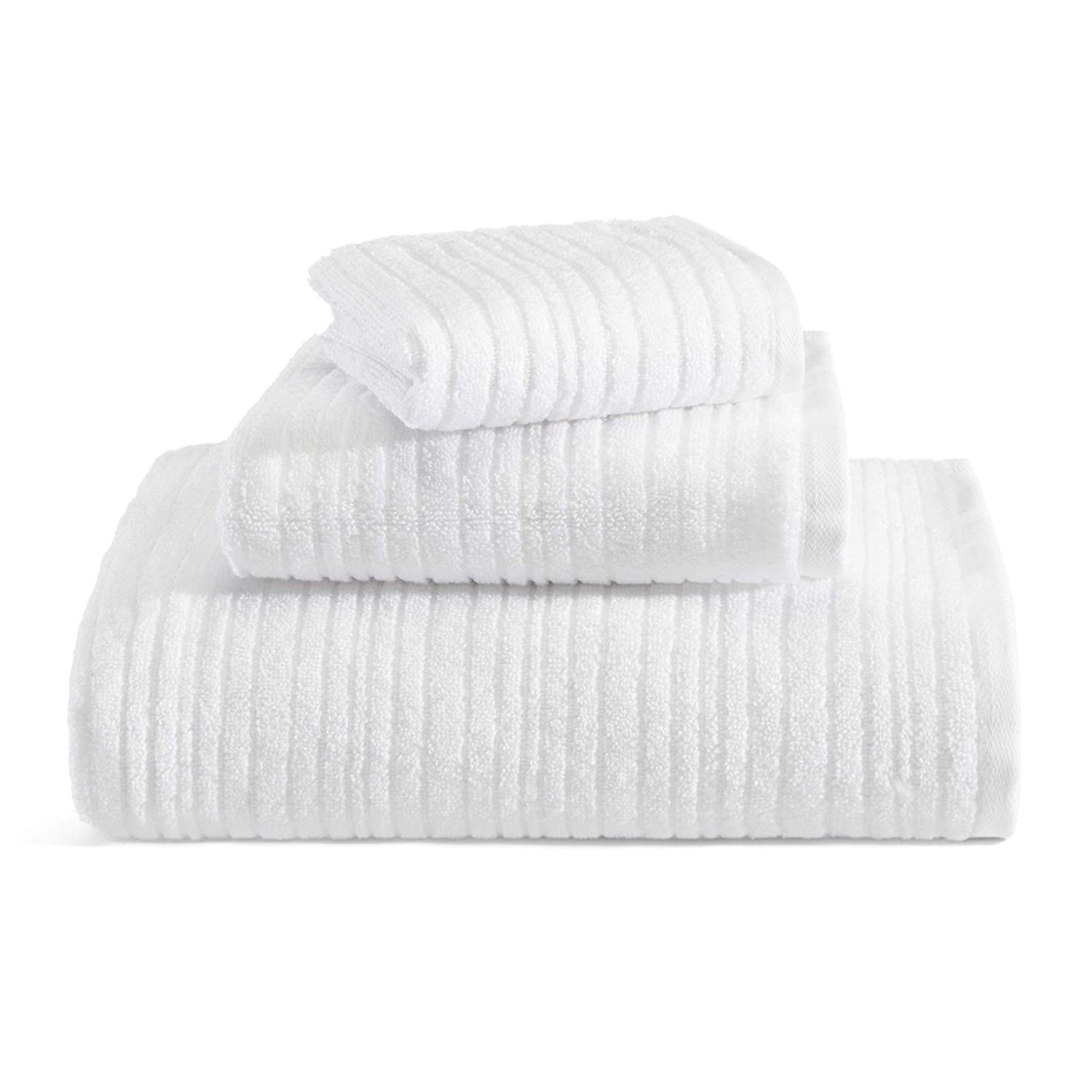 Kenneth Cole REACTION Quick Dry Towel Set, 3 Piece, White