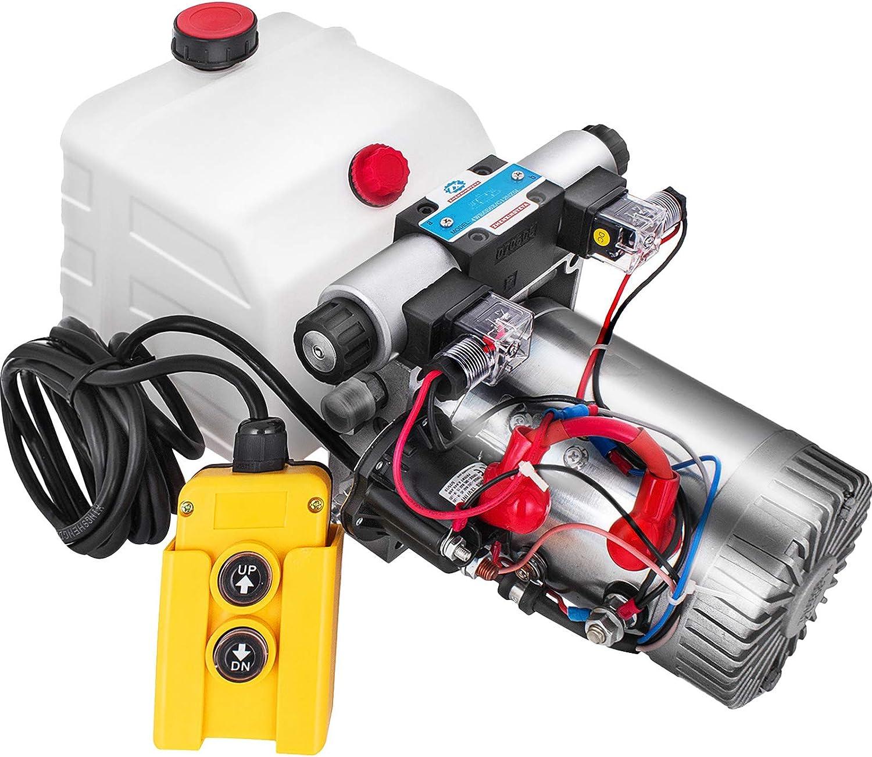 VEVOR 8L Doppelwirkende Hydraulikaggregat 12 V Hydraulikaggregat 13,4 kg Hydraulikpumpe doppeltwirkende 8 L Rund 11,4 x 16,5 x 57,2 cm Ger/äte f/ür Scherenb/ühne Muldenkipper Wohnmobile Autotransporter