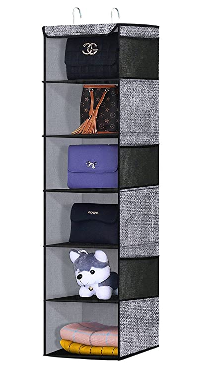 Onlyeasy 6 Shelf Hanging Closet Organizer   Fabric Collapsible Wardrobe  Closet Hanging Shelves For Clothes
