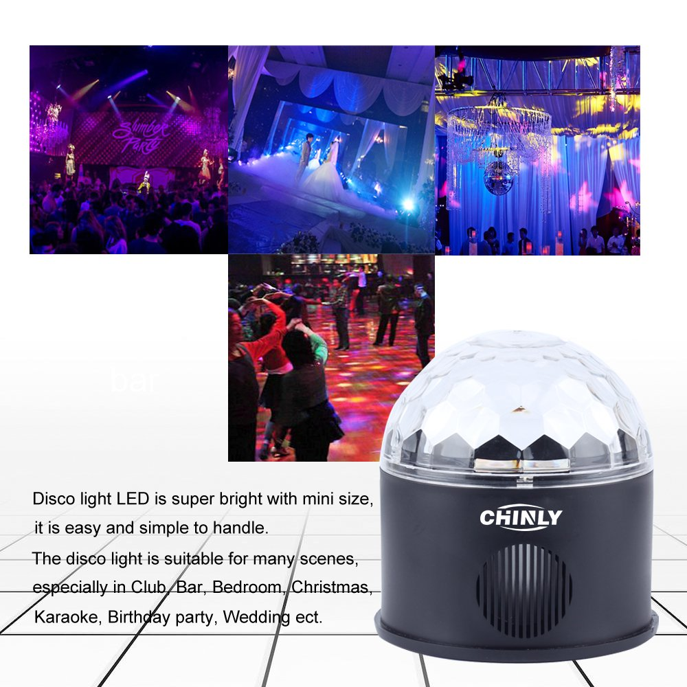 CHINLY LED Disco Ball Light MP3 Music Bluetooth Speaker USB Portable 9W 9color Modes Dance Hall Strobe Light Mini LED Stage Light Party Light for Wedding Party Bar Club DJ KTV (with Remote & US Plug) by CHINLY (Image #6)