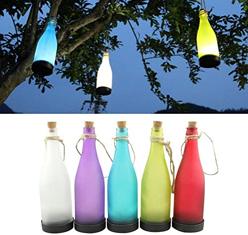 5-Pack Flame White Light LED Solar Powered Bottle Lamp Outdoor Hanging Lights for Garden Yard Lawn Party Courtyard Landscape Multicolor