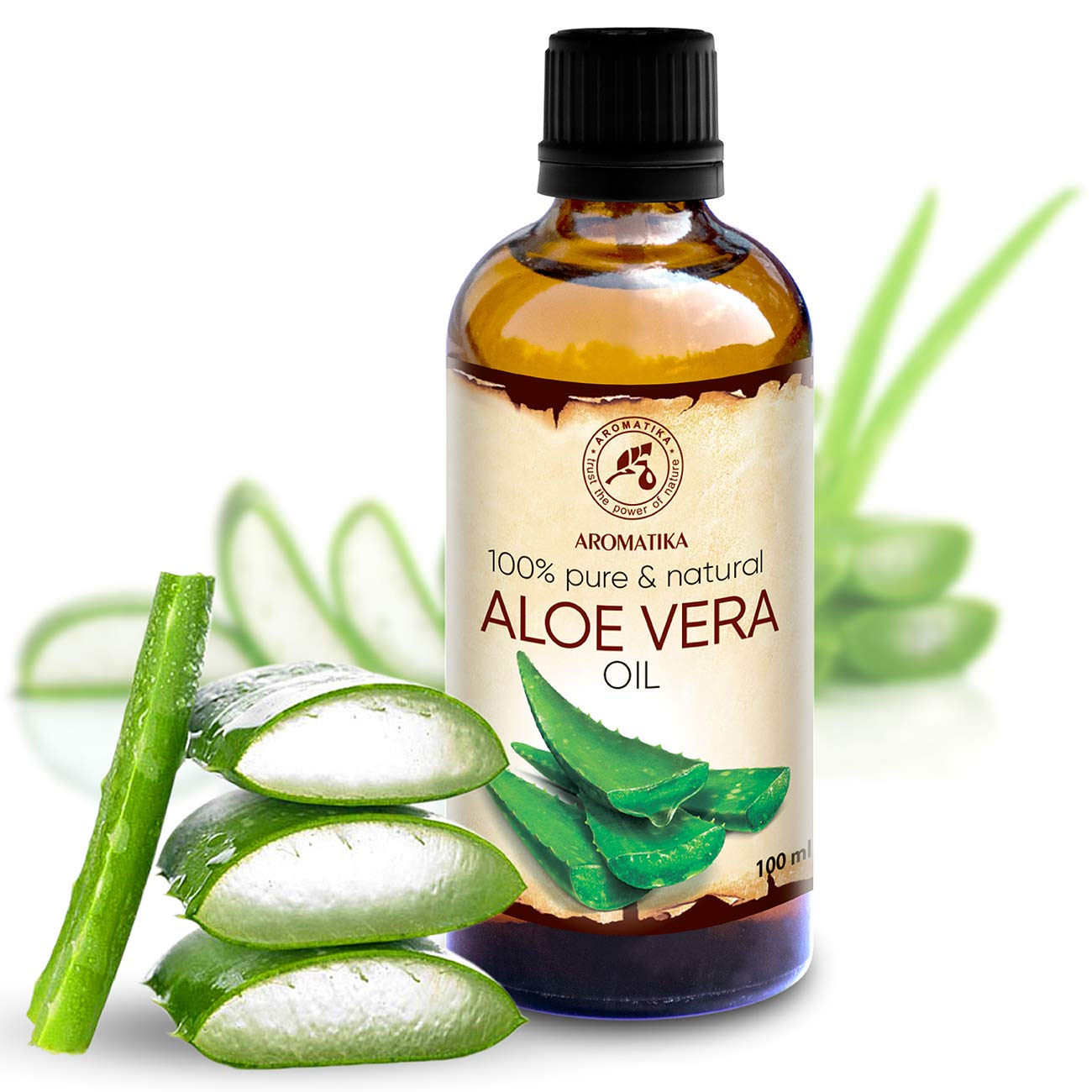 Aloe Vera Oil 3.4oz - Aloe Barbadensis - Brasil - 100% Pure & Best for Skin - Body - Hair Growth - Face Moisturizer - Baby Oils - Used for Massage - Relaxation - Bath - Aromatherapy - by Aromatika