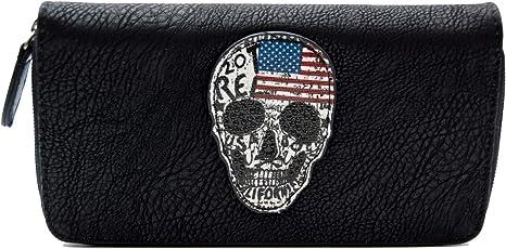Damen Geldbörse mit Strass Portemonnaie Geldbeutel umlaufender Reißverschluss