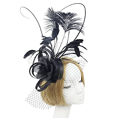 e0792fd02f1d Comradesn Black Fascinator Hats Women Feather Headwear Elegant Ladies  Headband for Kentucky Derby Cocktail Wedding Party black  Amazon.co.uk   Clothing