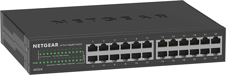 Netgear Switch Gigabit 24 Puertos GS324v2, Switch Ethernet Unmanaged de Sobremesa o Bastidor, Caja de Metal Sin Ventilador, Negro