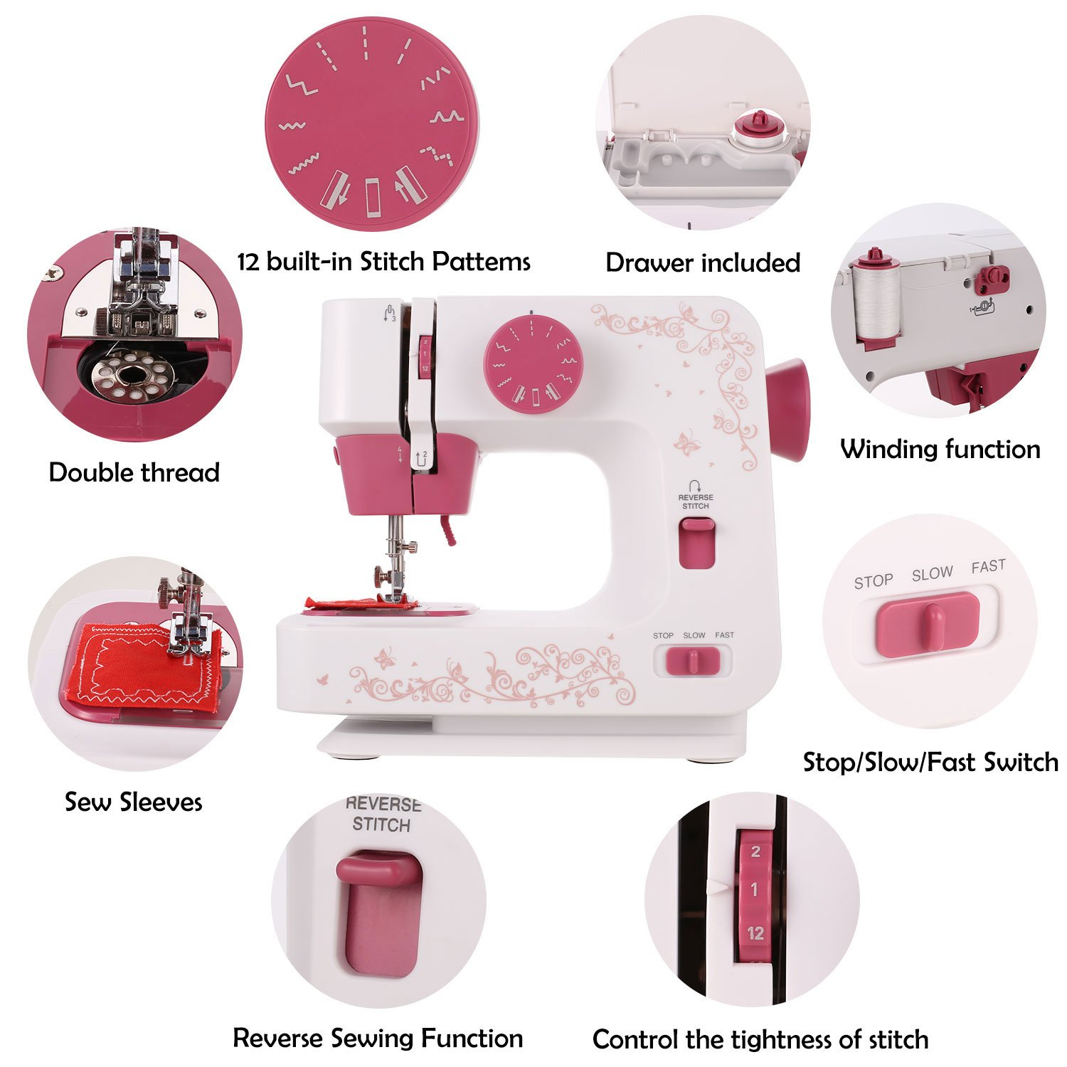 Coocheer Electric Sewing Machine for Beginner Starter 12 Stitches Multifunction 2 Speed Household Home Use Easy Red