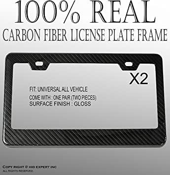 2Pcs Carbon Fiber Style License Plate Tag Snap Fit Frames Standard Fit w// Screws