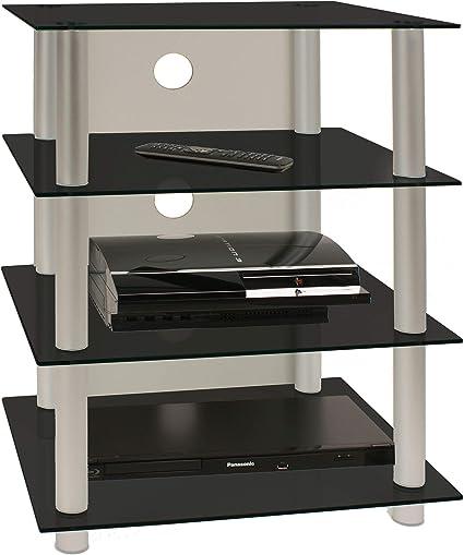 vcm 14115 blados meuble hifi aluminium verre argent noir