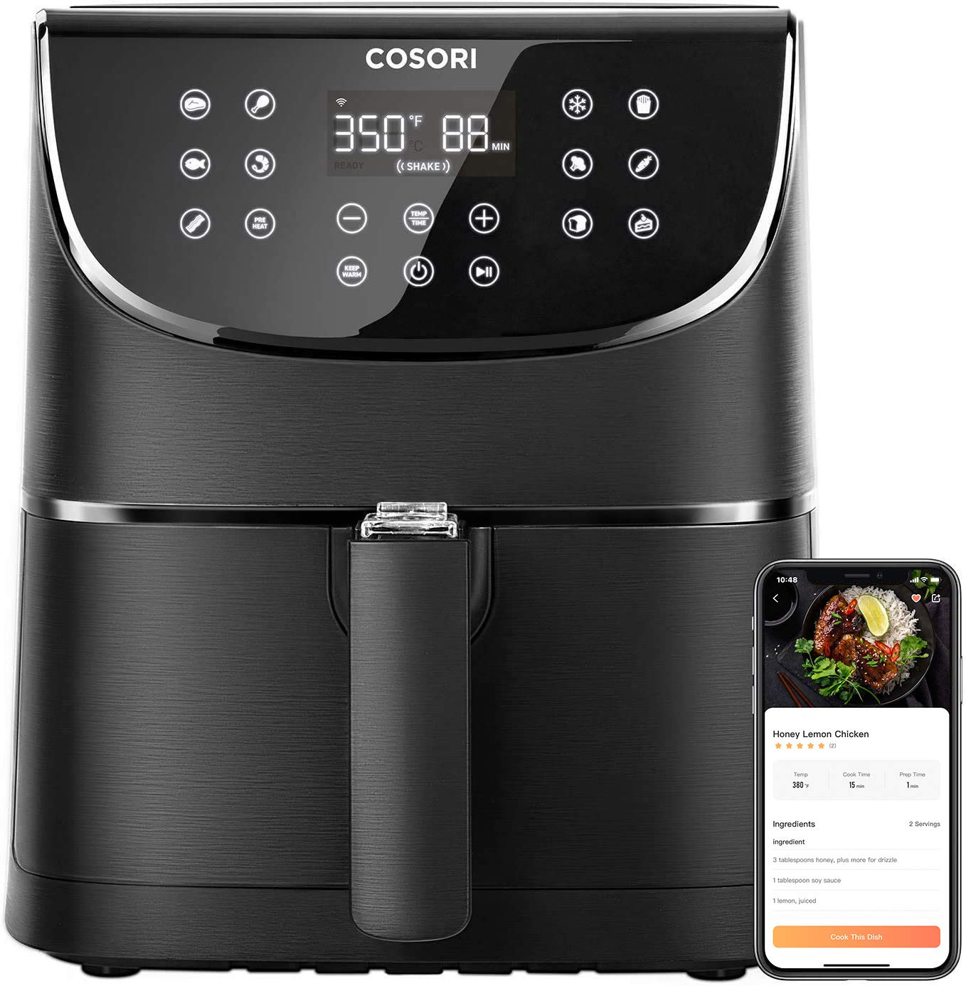 COSORI Smart WiFi Air Fryer(100 Recipes), Digital Touchscreen with 13 Cooking Functions for Air Frying, Roasting & Keep Warm ,Preheat & Shake Remind, Works with Alexa & Google Assistant, 5.8 QT-Black