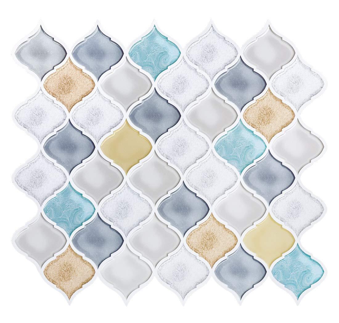 White Turquoise Arabesque Peel and Stick Tile Backsplash, Smart Anti-Mold Backsplash Peel and Stick,Self Adhesive RV Kitchen Mosaic Backsplash Tiles 10''x11.26'' Pack of 8