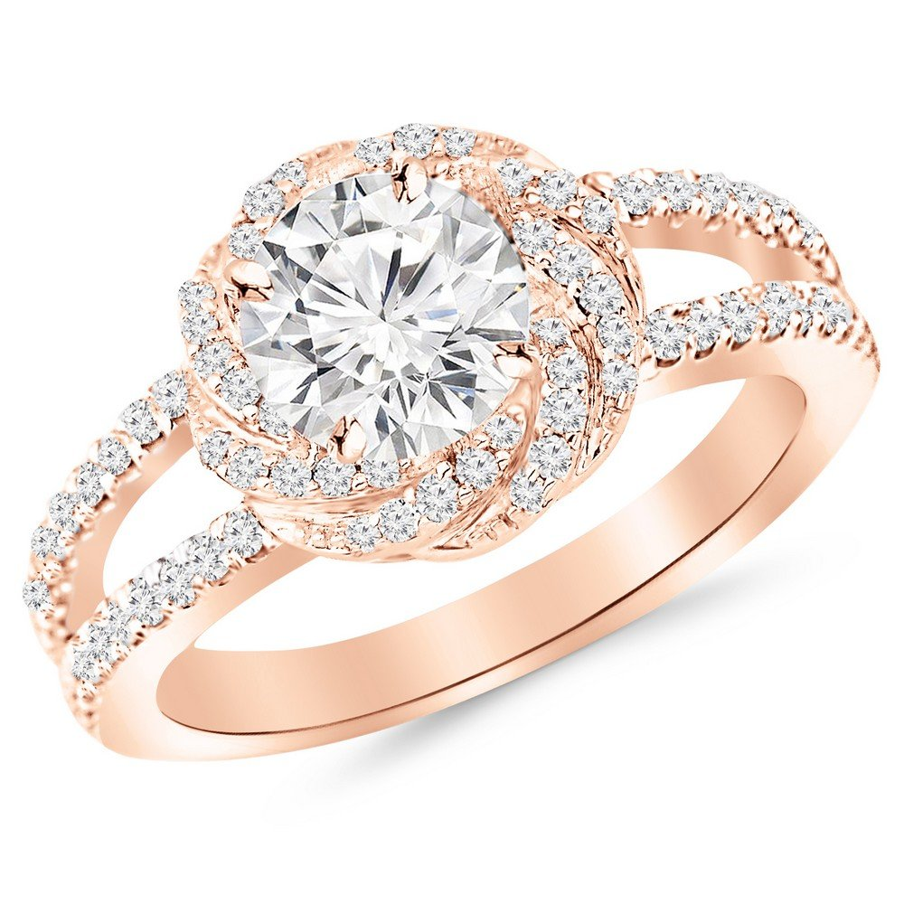 1.16 Carat t.w. 14K Rose Gold Round Pave Set Halo Style Floral Split Shank Diamond Engagement Ring H-I I2 Clarity Center Stones.