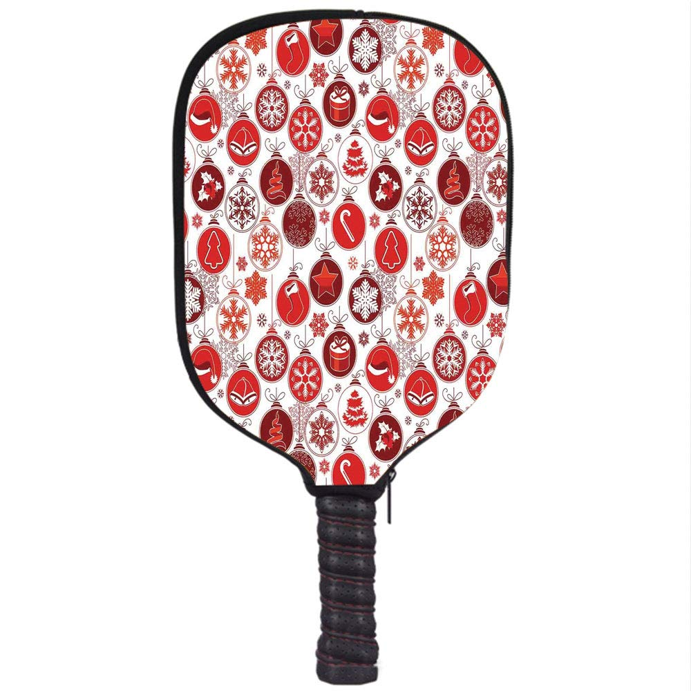 ... Christmas Decorations, Classic Themed Old Fashion Celebration Carols Winter Design Patterns, Red White, Fit for Most Rackets - Protect Your Paddle ...