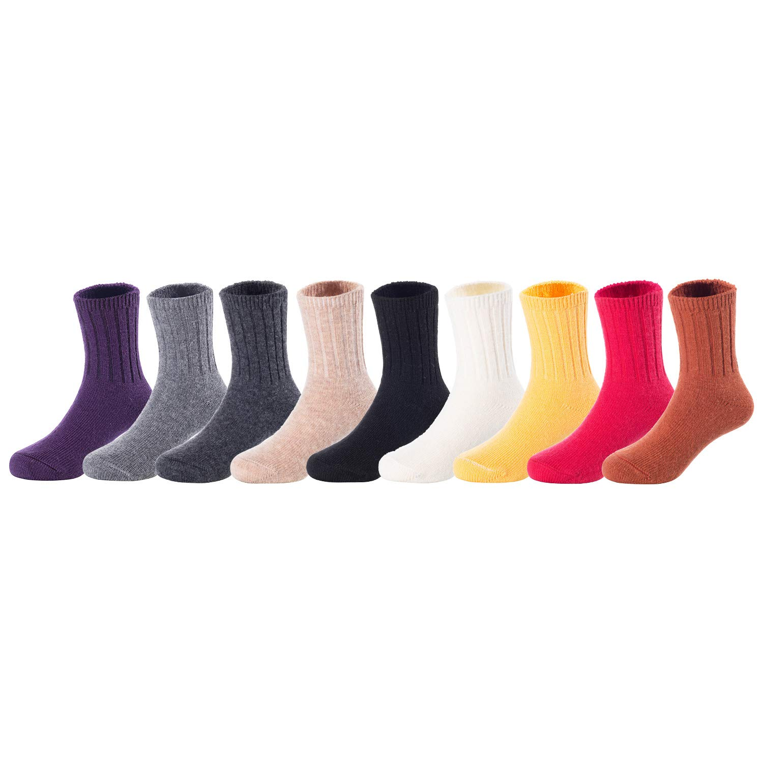Lovely Annie Baby Toddler Children 6 Pairs Wool Tube Socks Solid 4Y-6Y Random Girl Color