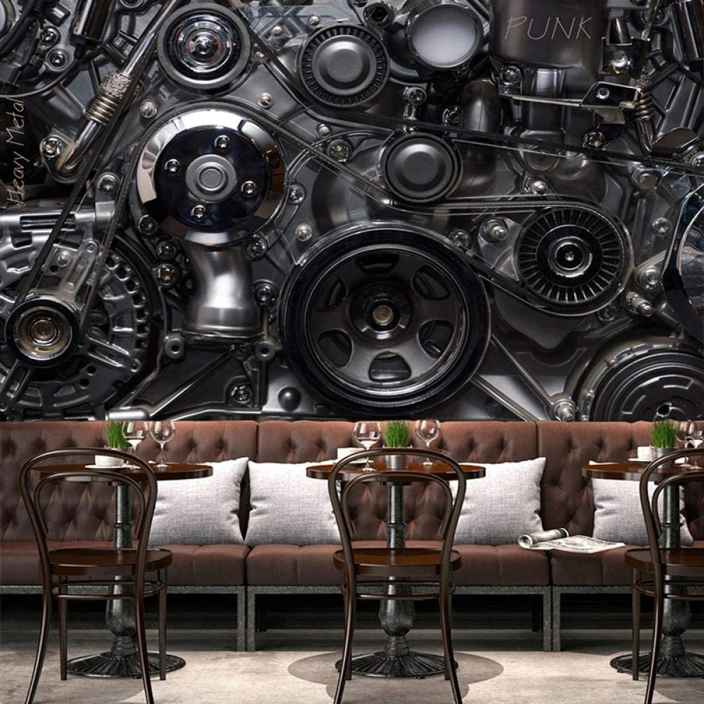 Mural Wallpaper Customize 4D Wall Decoration,European Style Retro Metal Machine Gear Wallpaper Large Silk Mural Hd Print Wall Painting Poster Picture For Fashion Home Decor Wall Papers Frescoes,420Cm(