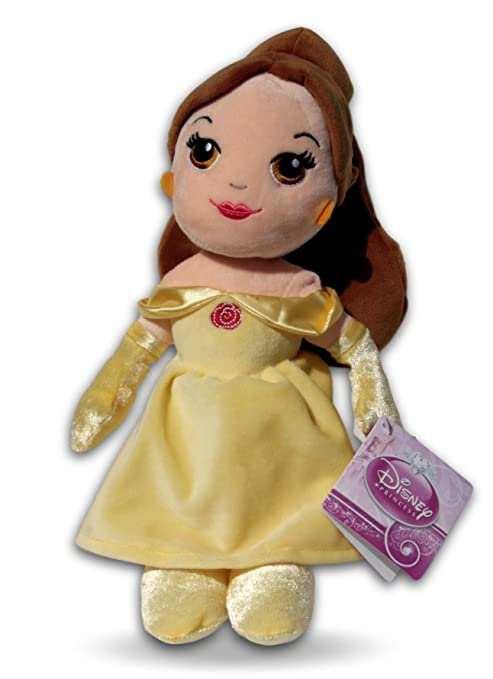 Bella 30cm Muñeca de Peluche Princesa Disney Chica Niña Pelo Marron Vestido Amarillo Super Suave Bella