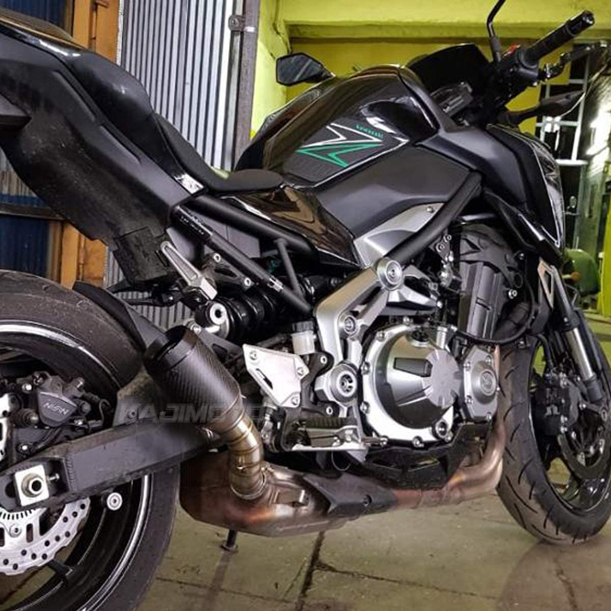 KAJIMOTOR Motorcycle Stainless 51mm// 2 Inlet Motorcycle Systerm Exhaust Muffler Tail Real Carbon Fiber Pipe For Kawasaki Z900 2017-2018