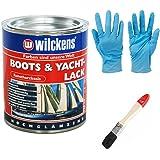 Kunstharzlack (Boots & Yachtlack inkl. Pinsel zum Auftragen und Nitrilhandschuhe (375 ml)
