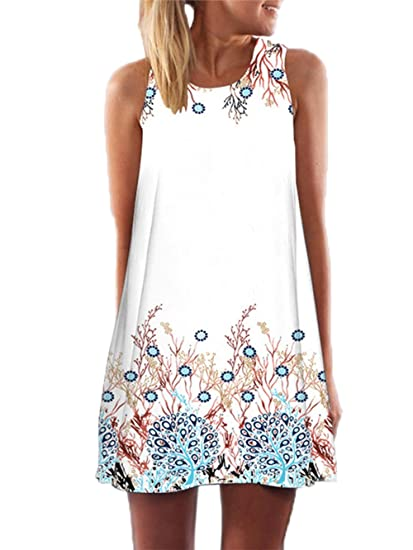 583a4b849cb98 YOINS Mini Dress for Women Summer Random Floral Print Round Neck Sleeveless  Casual Top Dress