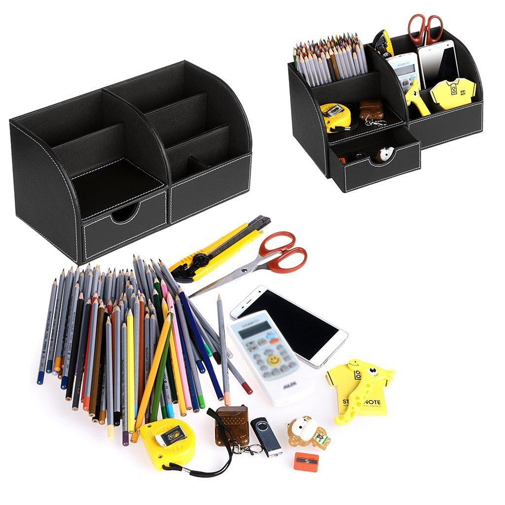 Organizador de escritorio multifuncional/-/Portal/ápices piel PU 7/compartimentos//caja almacenaje soporte con un caj/ón almacenamiento tarjetero//tel/éfono port/átil//papeler/ía//grapadora//mando a distancia