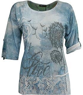 8711f8cc55b5a4 No Secret Chiffon T-Shirt Damen kurzarm Blau mit Spitze am Rücken große  Größen Sommer