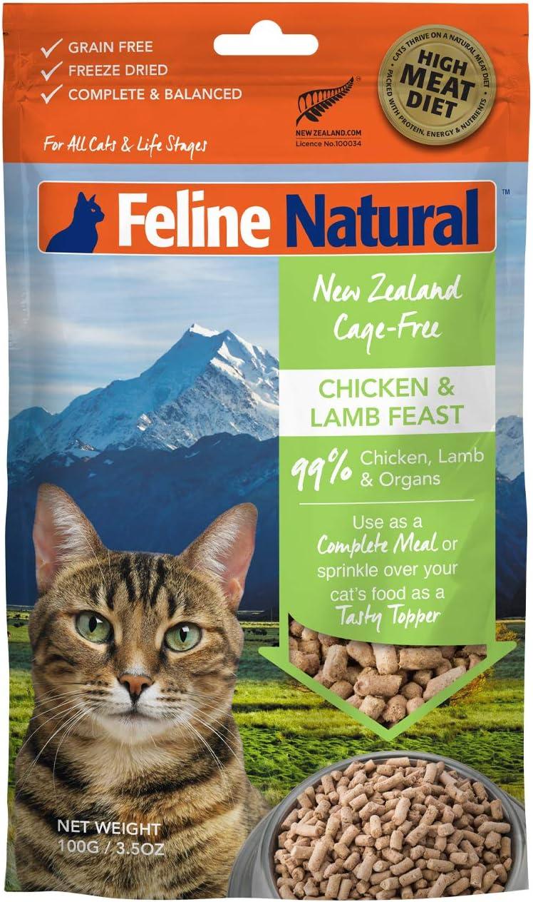 Feline Natural Grain-Free Freeze Dried Cat Food, Chicken & Lamb 3.5oz
