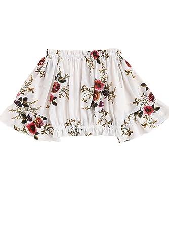 42da41272d9e02 Floerns Women s Off Shoulder Sexy Short Sleeve Crop Top Blouse White ...
