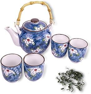 LakeTian 5 sets Japanese Design Ceramic Tea Pot and Cups Set Serves 5 Guests Excellent Colorful Home Decor Asian Living Decorative Accent Teapot sets (blue)
