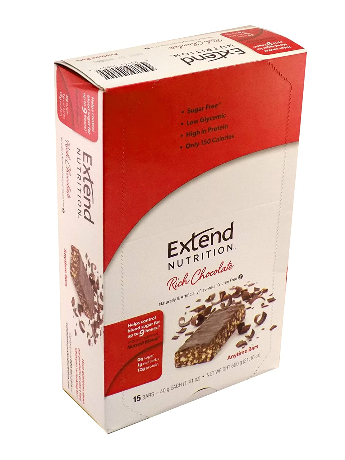 Amazon.com: Extend Bar, Rich Chocolate, 1.41 oz. Bars (Pack of 15 ...