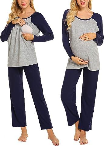 MAXMODA Pijamas de enfermería para Mujeres Pijamas de Maternidad de Manga Larga Ropa de Dormir Suelta de Dos Piezas Pijamas para Mujeres con función ...