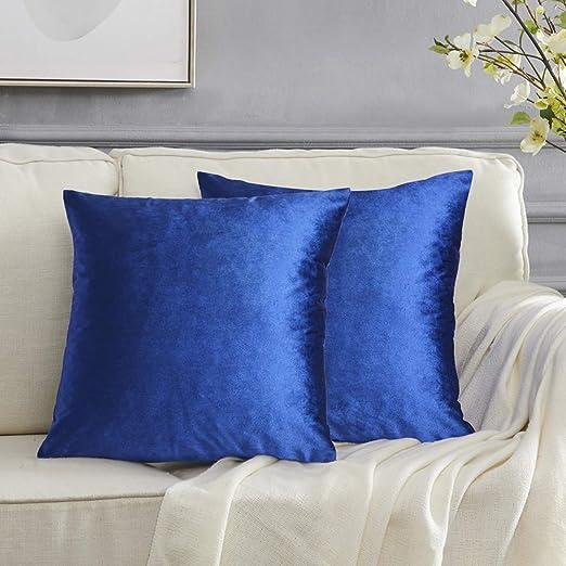 Gigizaza Azul Terciopelo Almohadon Cubre Caso, Rayas Acento Confortable Funda de Cojin, Mejor Decoración Square Sham Fundas de Almohada para Sofá Sofá ...