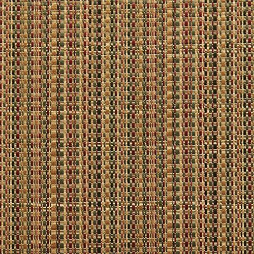B0180B Green Gold and Burgundy Woven Striped Silk Satin Look Upholstery Fabric by The Yard ()