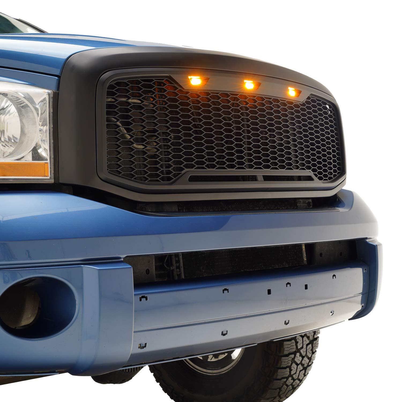 Tidal Raptor Style Upper Replacement Grille w/LED Amber Lighting for 06-08 Dodge Ram 1500/06-09 Ram 2500 - Matte Black Tidal Automotive