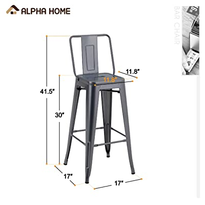 Buy Alpha Home Metal Bar Stool Patio Stool 30 Inches Counter Height Stools Set Of 4 With Low Back Bar Chair For Indoor Outdoor Kitchen Weight Capacity 350 Lb Gun Grey Online In