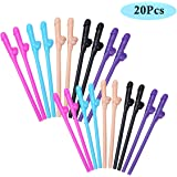 CHICTRY Party Drinking Straws Reusable Mixed Color for Bachelorette Party Girls Night Out Bridal Party Hen Party Supplies Party Favors Gift 20Pcs One Size