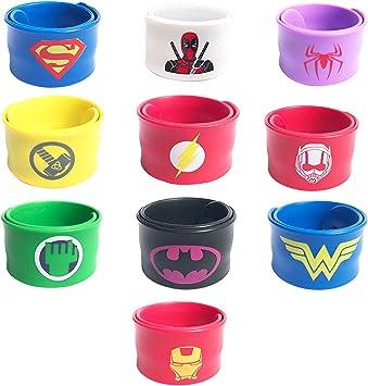 KRUCE 10 Piezas Superhéroe Slap Pulseras,Adecuado para niños y ...